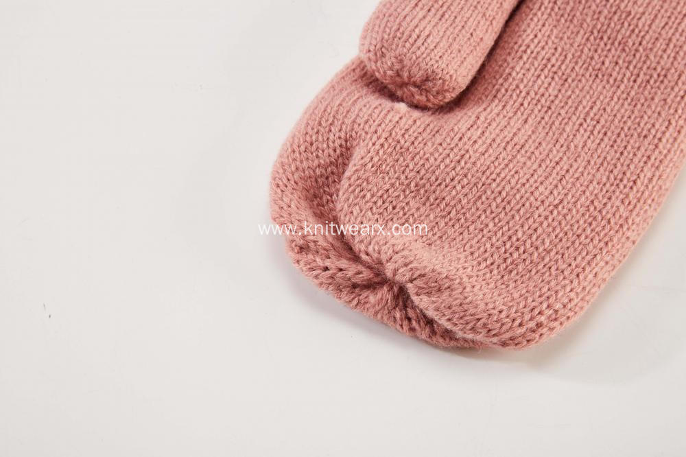 Girl's Knitted Cable Fleece Opening Mitten Gloves