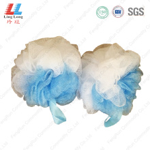 Two side gradient mesh bath sponge