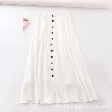 Chiffon White Button Decorative Skirt
