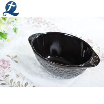 Fashion stoneware ceramic soup bowl with handle