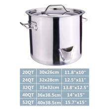 32QT Stainless Steel Stock Pot with Lid