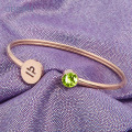 Personalized Zodiac Birthstone Cuff Bracelet For Mom