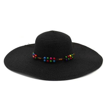 Rainbow balls top cap beach straw hat