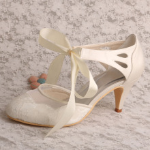 Cone Heels Wedding Shoes for Bride Ivory