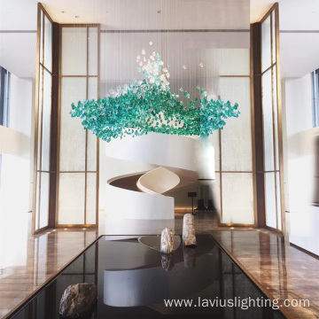 Gallery design project modern large green glass chandelier