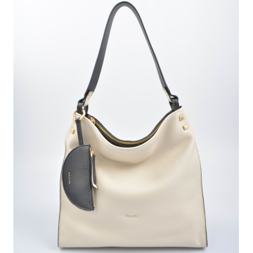 Luxe pebbled leather hobo bag with pendant pouch