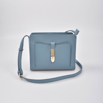 Square Shape Crossbody Bag in Real Leather extra pockets