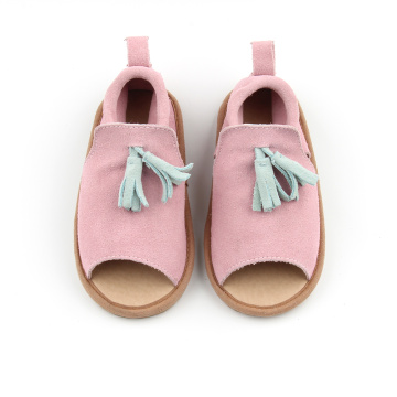 New Arrival Pink Leather Kids Sandals