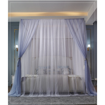 Three-door door double-color floor mosquito net