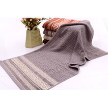 Grey Towels with Homocentric Squares Embossed