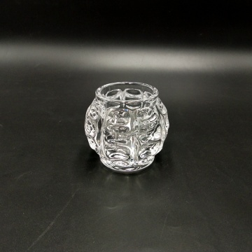Ball shaped small glass tealight candle holder