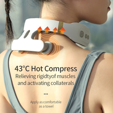 Intelligent portable neck massager with heat electric pulse