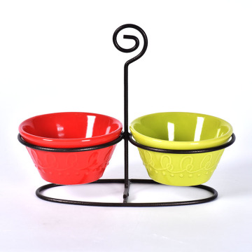 Snacks Ceramic Sauce Dipping Bowls with Iron Stand