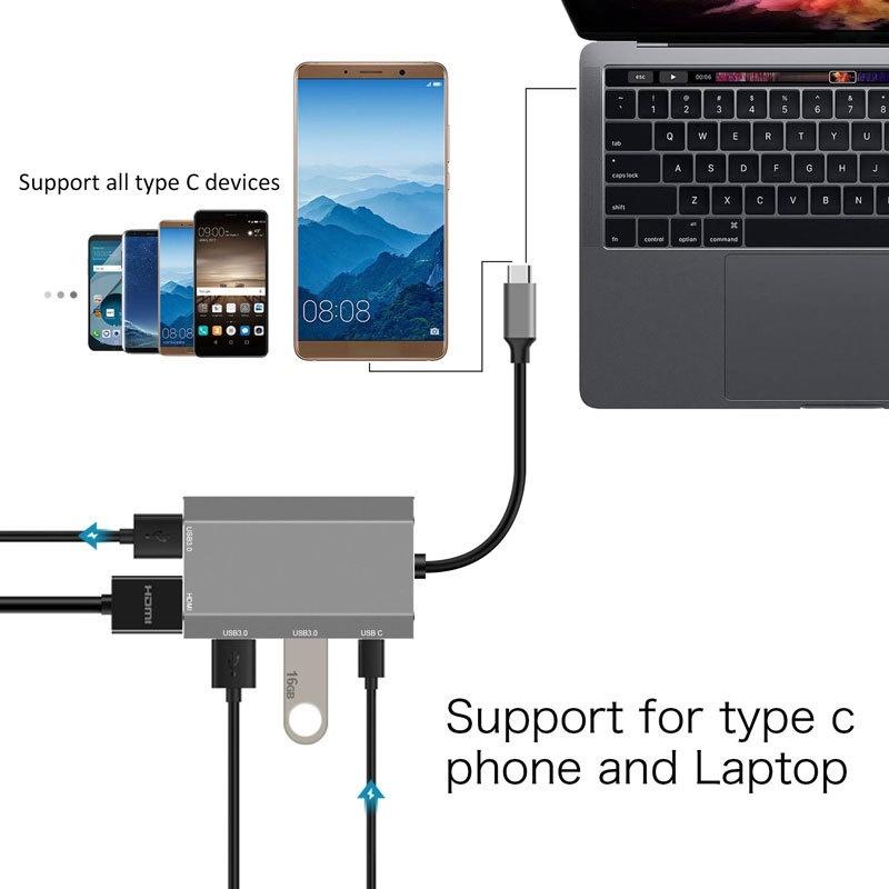 5 in 1 USB C HUB, 4K@30 Docking Station Including 1XUSB C + 3XUSB 3.0 + 1XHDMI for Laptop PC