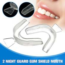 2Pcs Boxing Protection Transparent Mouth Guard Tray Sport Equipment Night Guard Gum Shield Mouth Tray for Bruxism Teeth Grinding