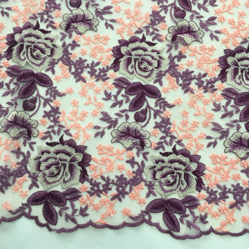 Multicolor Rose Blossom Design Embroidery Fabric