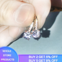Trendy Round CZ Crystal Drop Earrings for Women Vintage Rose Gold Color Wedding Party Earrings Fine Jewelry brinco feminino Gift
