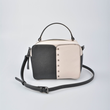 Black and white leather handbag with Top Handle