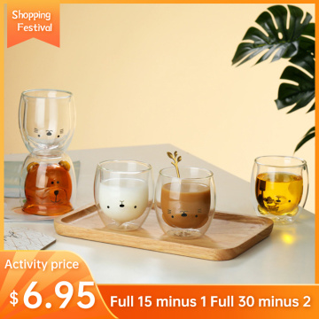 Creative Cute 2-Tier Glass Mug 280ml Anti-Scald Cartoon Animal Milk Juice Mug Office Coffee Cup Lady Cute Gift Cup Christmas Cup
