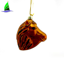 Christmas Glass Brown Horse Head Hanging Decorations
