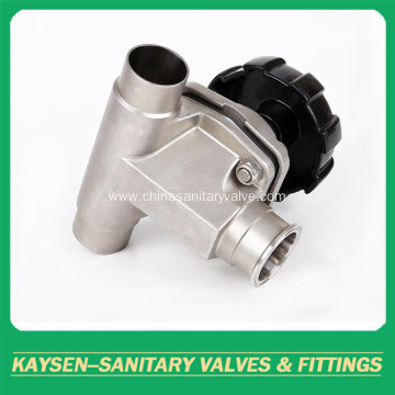 Sanitary membrane valve T-type clamp and weld