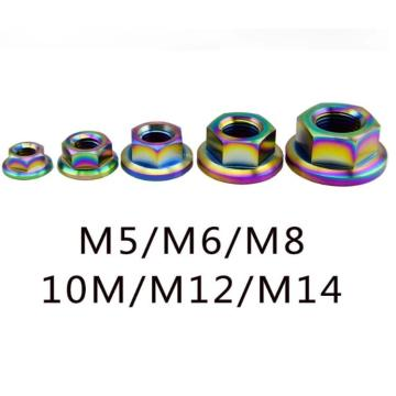 Customized colored flang titanium nuts