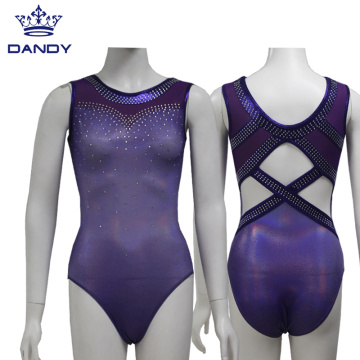 Custom purple mystique fabric gymnastic leotards