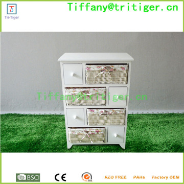 durable drawer Solid wood storage cabinet willow basket storage drawers wooden cabinet
