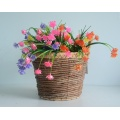 Round Hyacinth and Banana Leaf Flower Basket