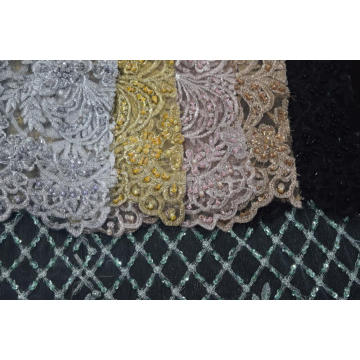 100%POLYESTER EMBROIDERED MESH FABRIC