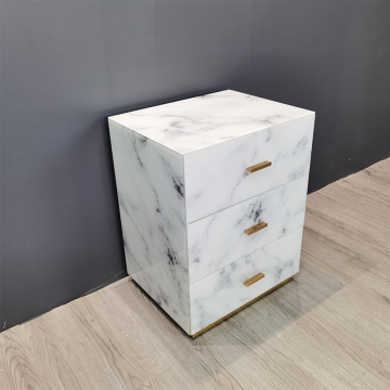 Marble Texture 3 Drawer Glass Bedside Table