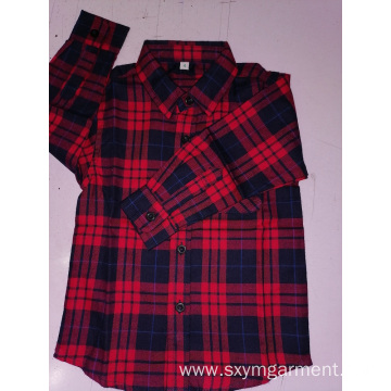 Kids cotton flannel y/d check long sleeve shirt