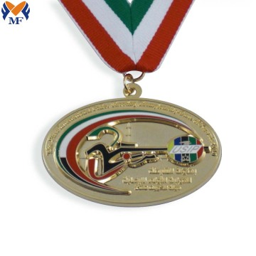 Custom gold metal oval commendation medal
