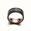 Womens black and rose gold tungsten wedding rings