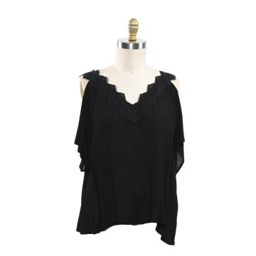 Korean Fashion Chiffon Women Blouses Lace Short Sleeve