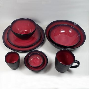 Stoneware Dinner Set In Crackle Glaze Pink