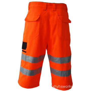 High visibility reflective tape short pants with pockets