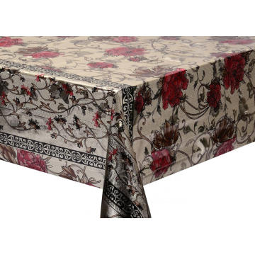 Double Face Emboss printed Gold Silver Tablecloth Brown