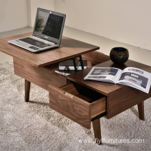 Rattan Lift Wood Coffee Table with Drawers