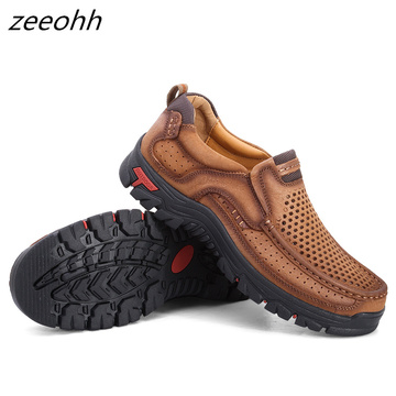 Autumn Men Comfortable Non-Slip Hiking Shoes First Layer Cowhide Leather Sneakers Men Breathable Hiking Boots Climbing Boots