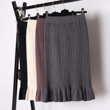 Factory Price Knitted Midi Skirt