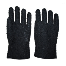 Black pvc double dipped gloves with chips