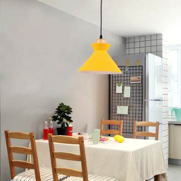 Yellow Aluminum Hanging Lamp For Indoor