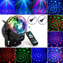 Colorful Sound Activated Disco Ball LED Stage Lights 3W RGB Laser Projector Light Lamp Christmas Party Supplies Kids Gift
