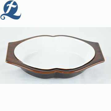 Hot sale popular fashion style container brown oval bakeware with binaural