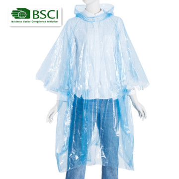 one-time used PE plastic rain poncho
