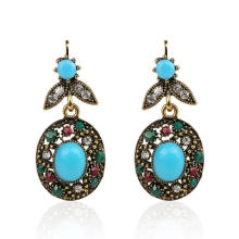 Wholesale Turquoise Blue Stone Women Hanging Earrings