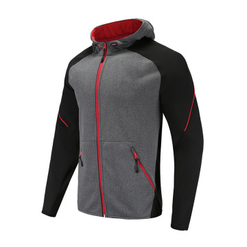 Mens Grey Soccer Wear Zip Up Hoodies