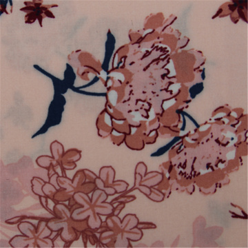 Pink Flower Active Printed Rayon Plain Fabric