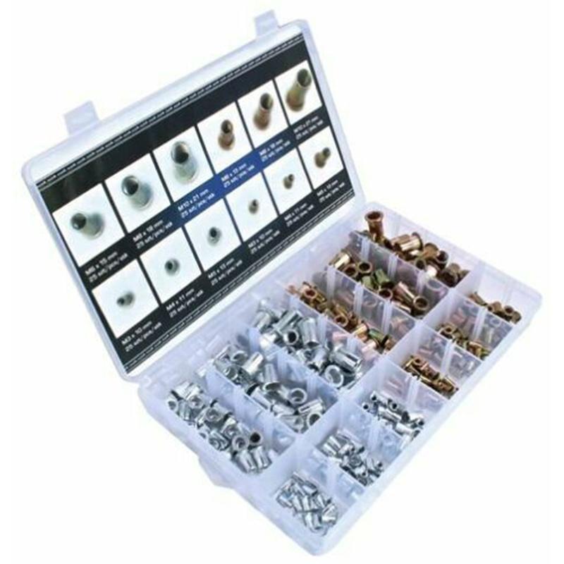300pcs M3 M4 M6 M8 M10 Zinc Plated Flat Head Rivet Nuts Carbon Steel Rivet Nutserts Threaded Insert Rivet Nuts Insert Riveting